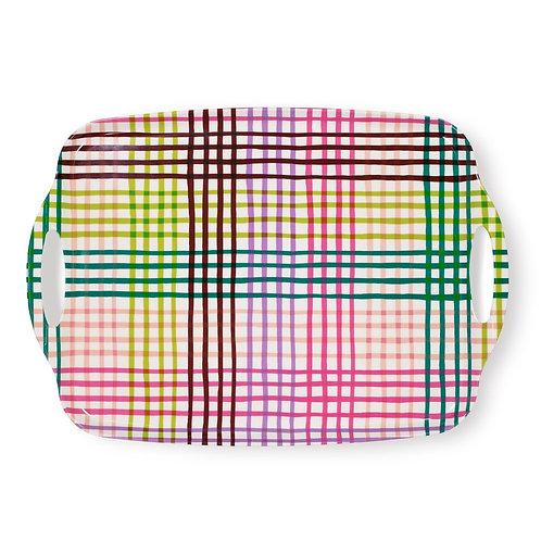 kate spade new york acrylic serving tray, rainbow gingham