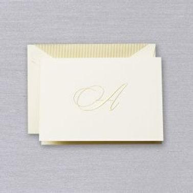 """Crane Engraved Script """"A"""" Initial Note"""