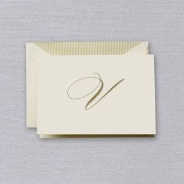 "Crane Engraved Script ""V"" Initial Note"