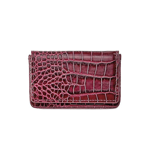 Hard Business Card Case - Crocodile Embossed Leather