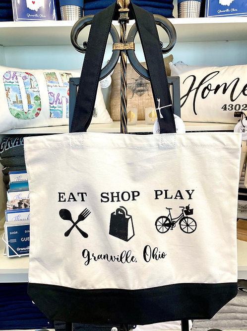 The Burlap Bee- Eat Shop Play Granville Tote - 18x15
