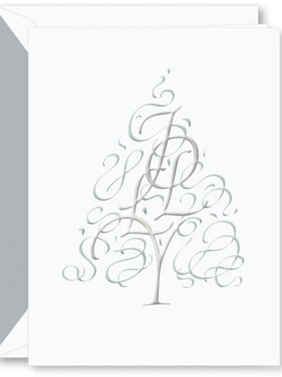 Crane Engraved Calligraphic Jolly Tree Boxed Holiday Greeting Cards
