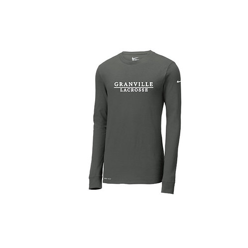 Ladies Grey Nike Dri-Fit Long Sleeve Tee