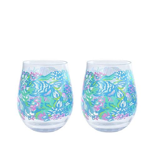lilly pulitzer acrylic wine glass set, aqua la vista