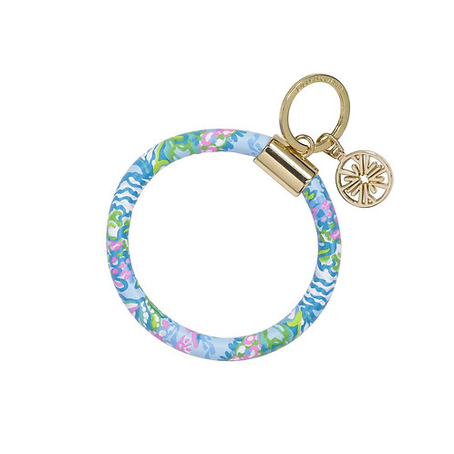 lilly pulitzer round keychain, aqua la vista