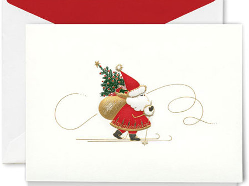 Crane & Co. Engraved Skiing Santa Christmas Greeting Cards