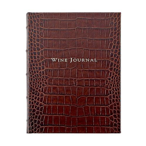 Tabbed Wine Journal Crocodile Embossed Leather - MLW CRO