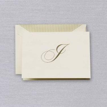 "Crane Engraved Script ""I"" Initial Note"