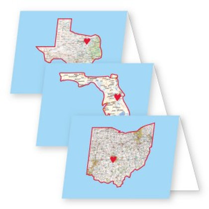 State Map Foldover Notecards