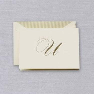 """Crane Engraved Script """"U"""" Initial Note"""