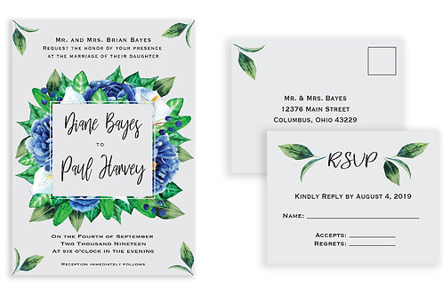 Blooming Blue Ensemble Invite