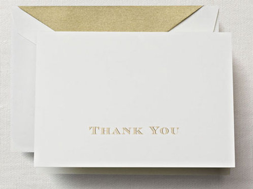 Gold Hand Engraved Thank You Note Stationery/Thank You Notes - CT1308