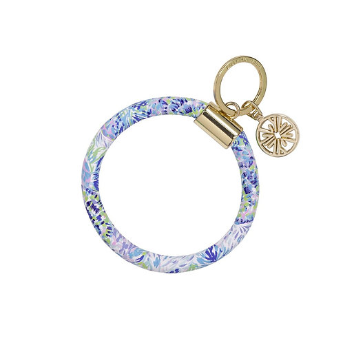 lilly pulitzer round keychain, shell of a party