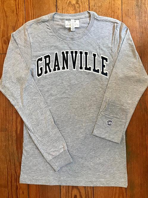 587 Light Gray Varsity Outline Long Sleeve Granville Tee