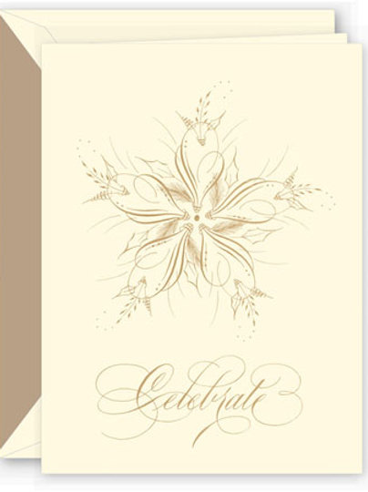 Crane Engraved Elegant Snowflake Boxed Holiday Greeting Cards