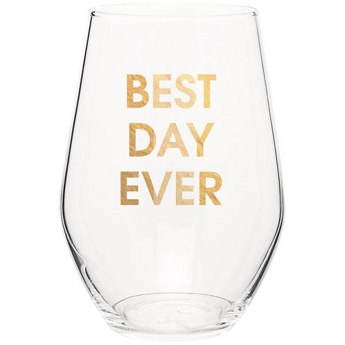 BEST DAY EVER - GOLD FOIL STEMLESS WINE GLASS