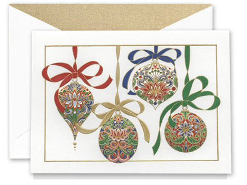 Engraved Elegant Ornaments Boxed Holiday Greeting Cards