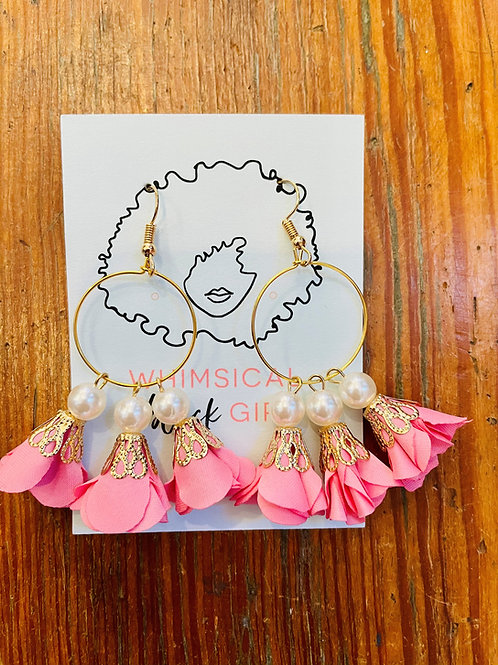 Whimsical Black Girl  Light Pink Pearl Trumpet Dangles