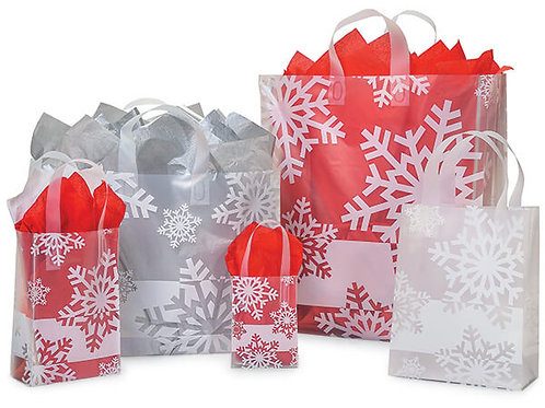 Large Snowflake Flurry Plastic Bag and Metallic Silver Tissue