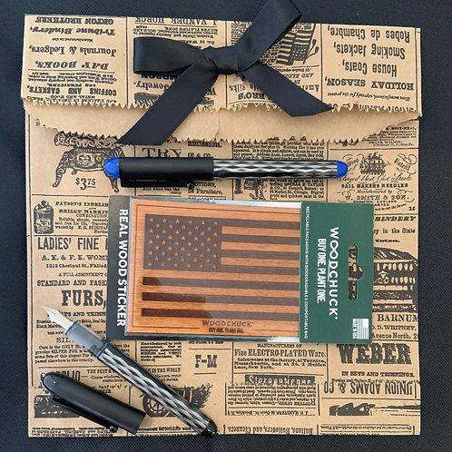 Woodchuck Wood Flag Sticker Giftset