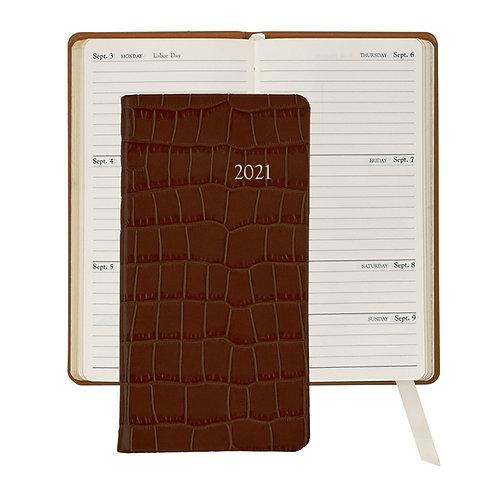 """2021 6"""" Pocket Datebook Crocodile Embossed Leather - PJ6-CRO"""