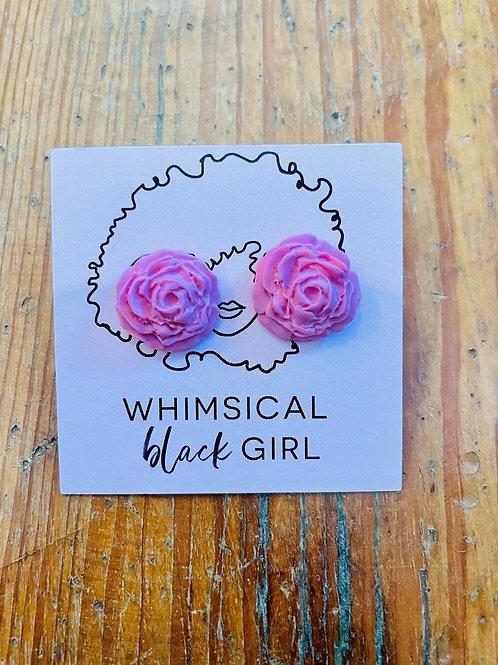 Whimsical Black Girl Pink Rose Studs