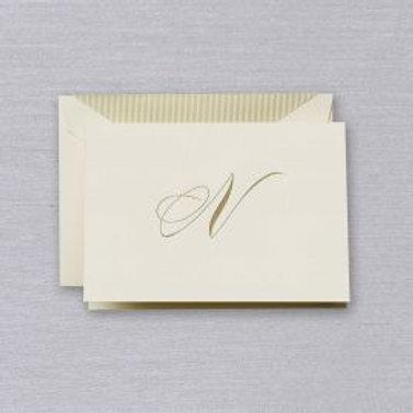 """Crane Engraved Script """"N"""" Initial Note"""