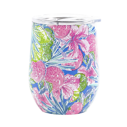 lilly pulitzer stainless steel wine tumbler with lid, swizzle in
