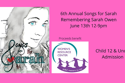 Songs for Sarah 2020 Child 12 & Under  Admission