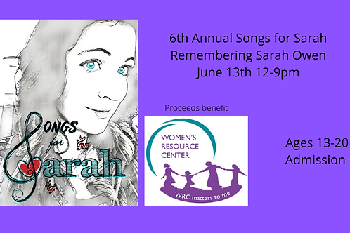 Songs for Sarah 2020 Ages 13-20 Admission