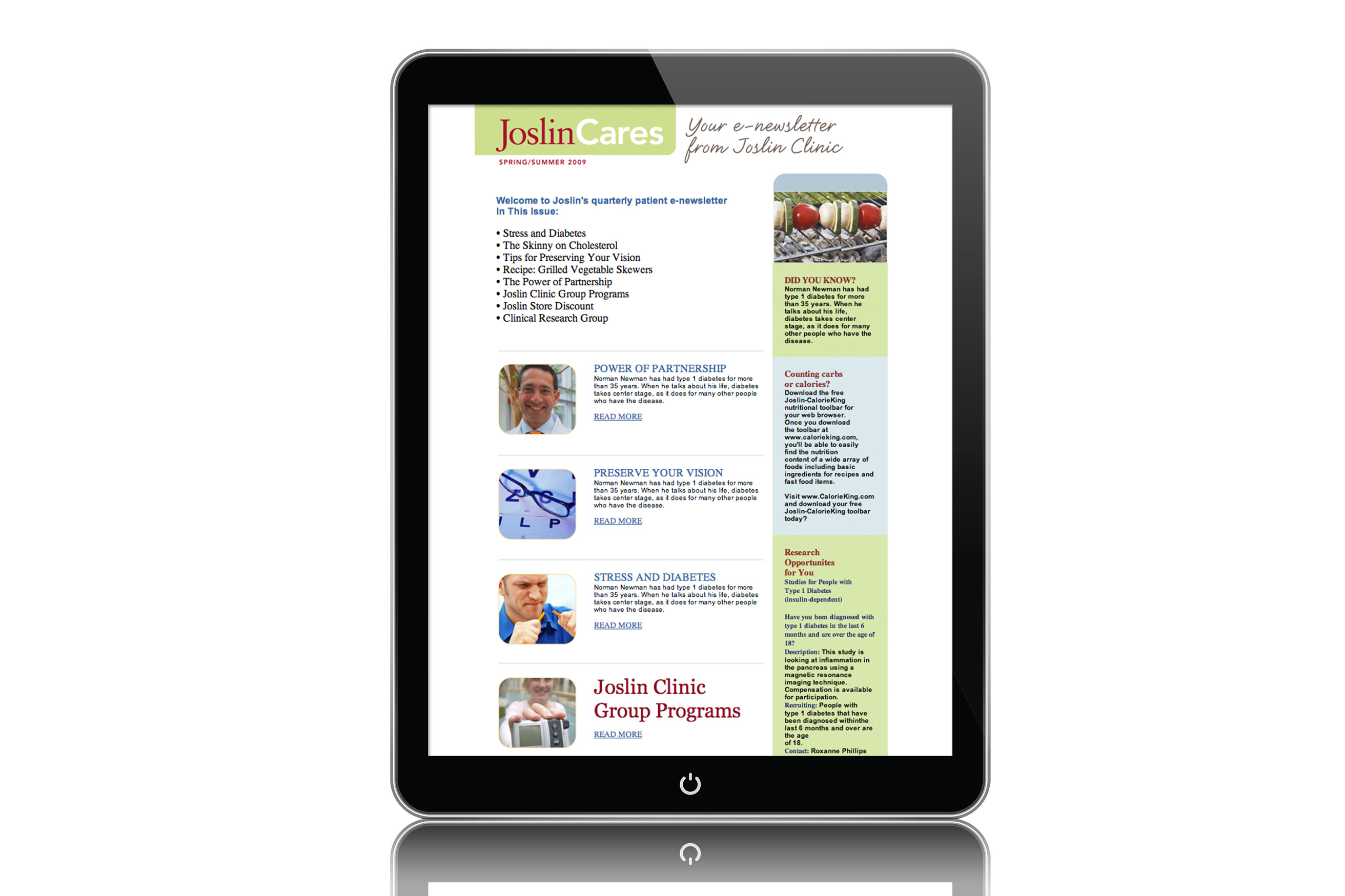 Joslin Monthly Patient E-Newsletter