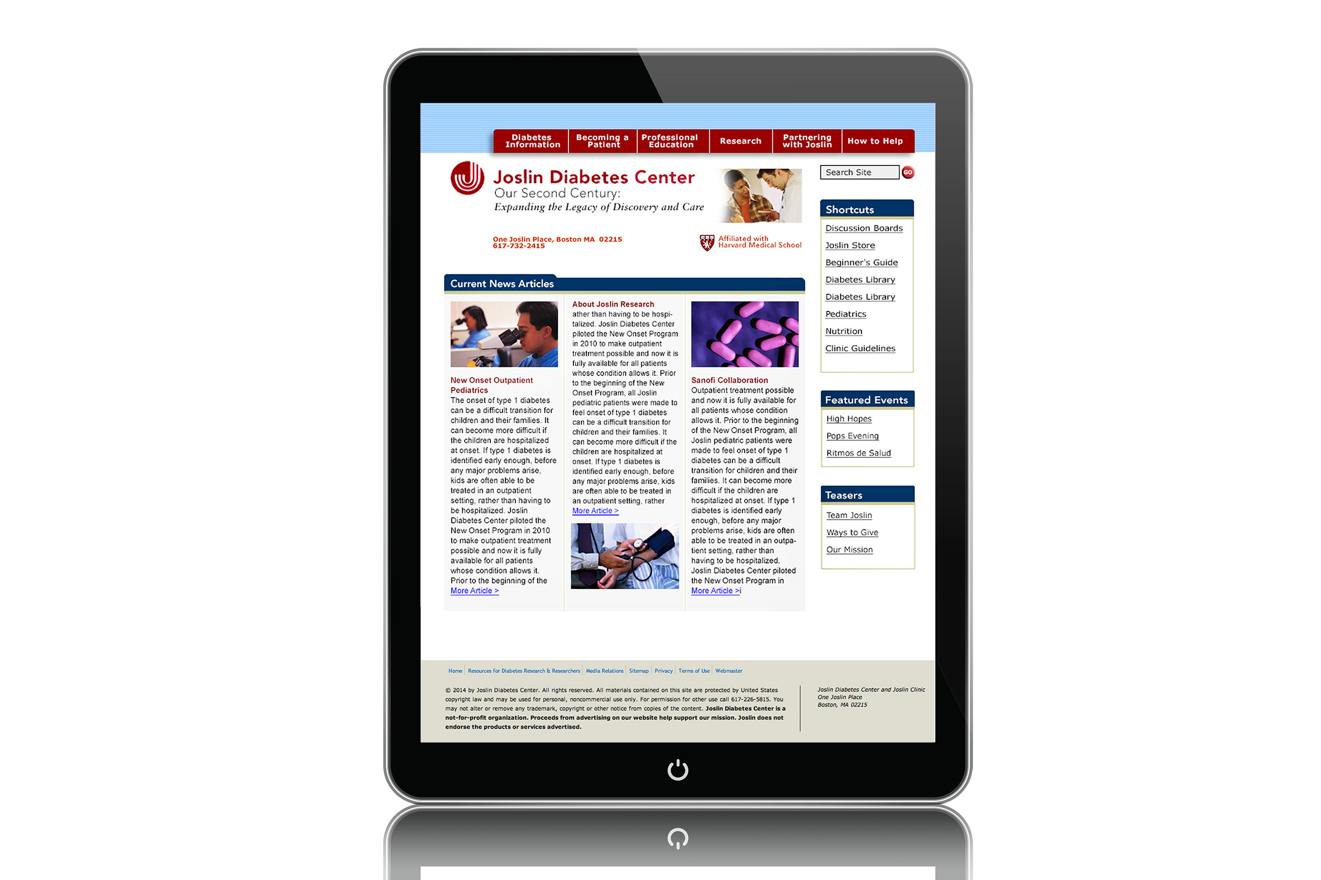 Joslin Diabetes Center Website