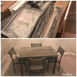 Dining room set assembly.
