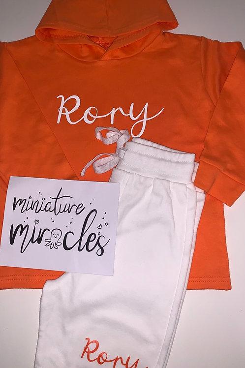Orange hoodie and shorts set