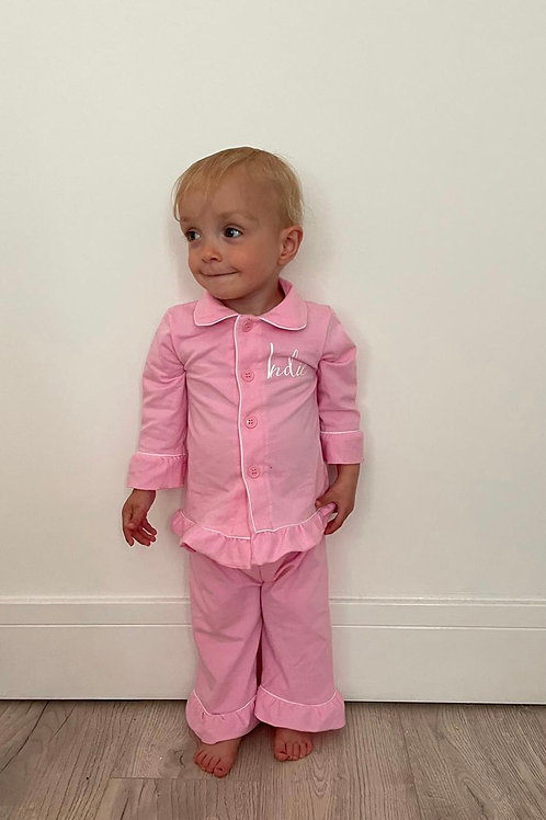 Baby pink frilled pjs