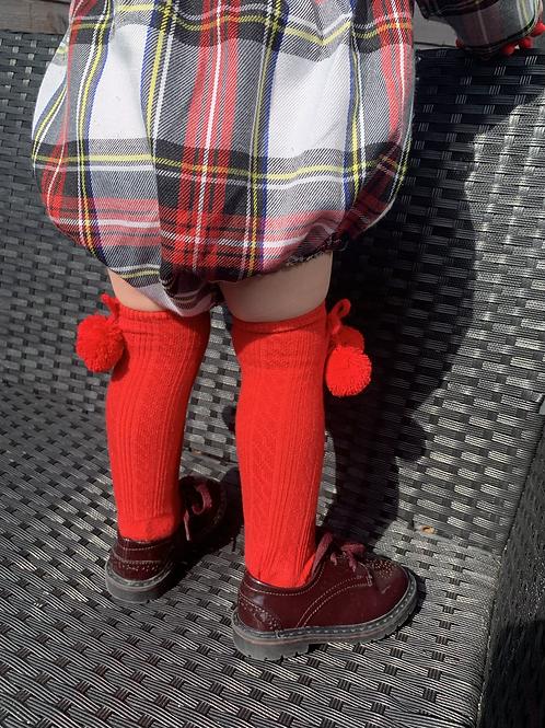Knee length pom pom socks