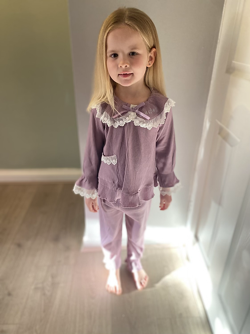 Purple frilled pjs