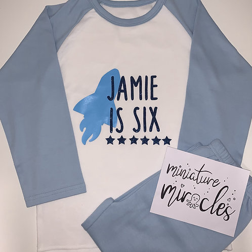 Blue raglan birthday Pj's