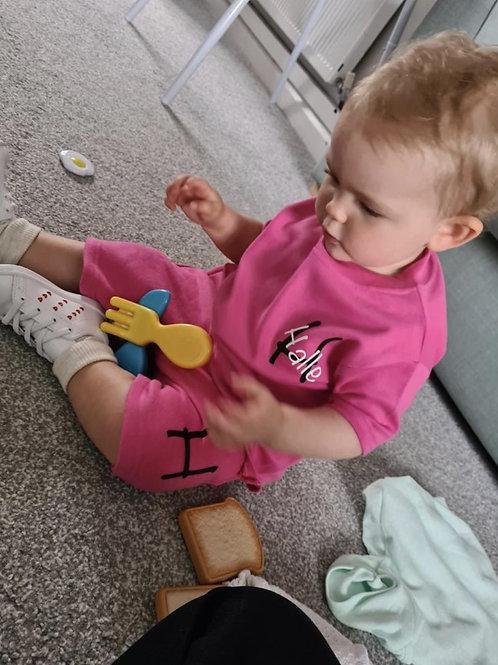 Personalised pink shorts and T-shirt set