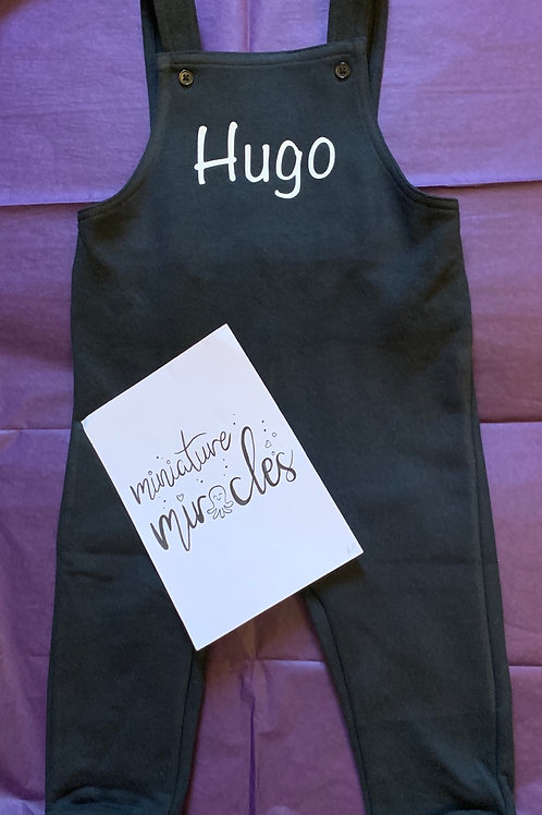 Personalised black dungarees