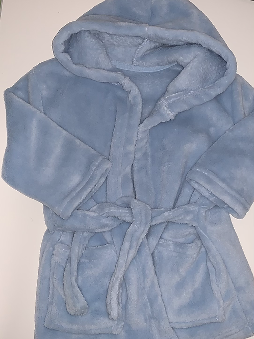 Blue dressing gown.