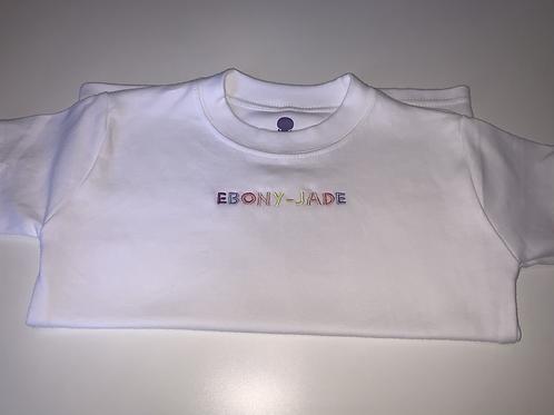 Embroidered rainbow text tee