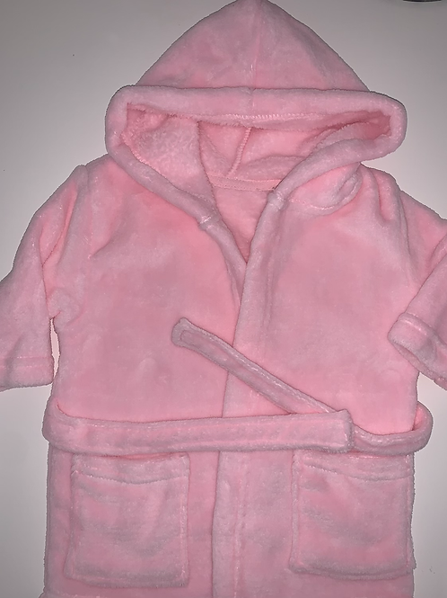 Pink dressing gown.
