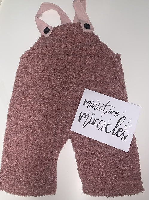 Pink teddy oversized dungarees