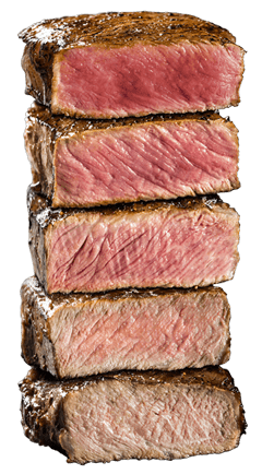 Steaks cooked to all temperatures