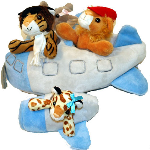 Up and Away Kid's Stuffed Airplane Animal Gift Basket