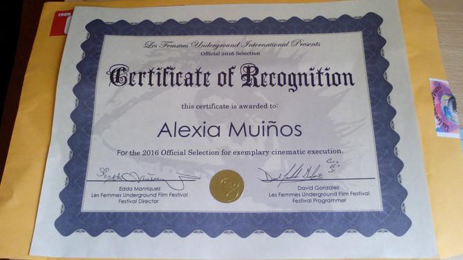 Recognition at Les Femmes Underground Film Festival