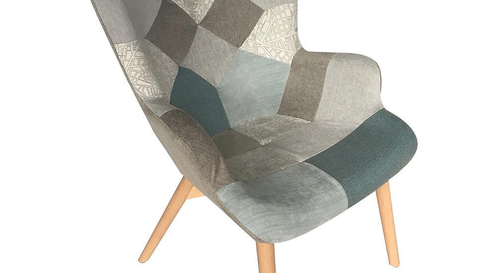Darlington Arm Chair - Blue Grey Patchwork