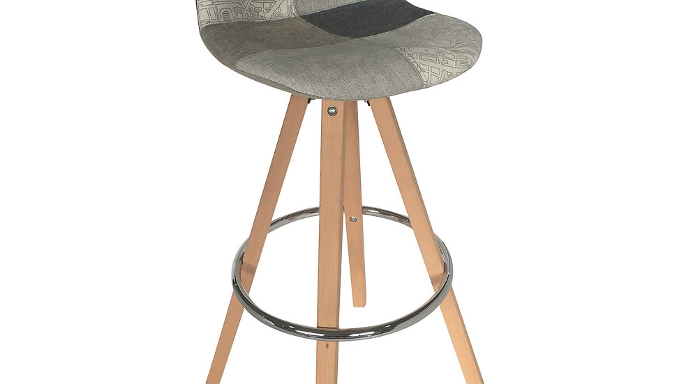 Darlington Bar Chair - Blue Grey Patchwork