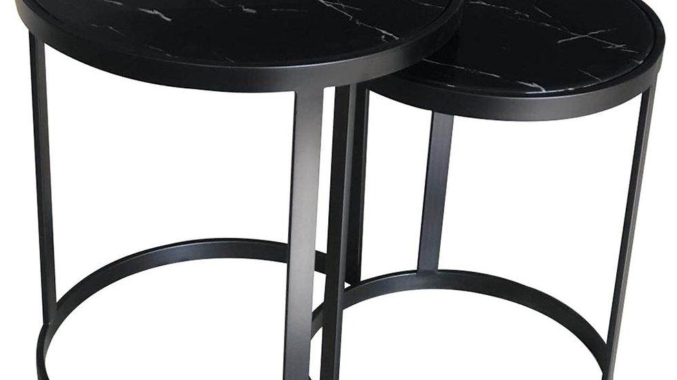 Glory Side Table Set Black Marble